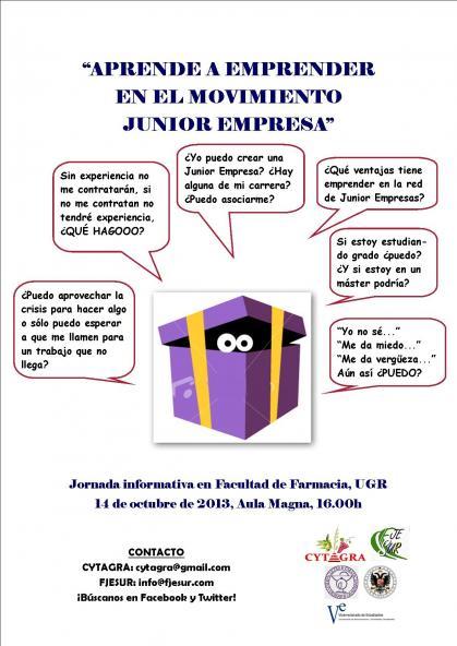 Imagen de portada de Aprende a emprender en el movimiento Junior Empresa. Hoy lunes ,16 h en la Facultad de Farmacia