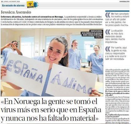 Imagen de portada de Jessica Asensio, enfermera en Noruega: «Tengo que tener máximo cuidado porque si entra el virus en la residencia se produce una matanza»