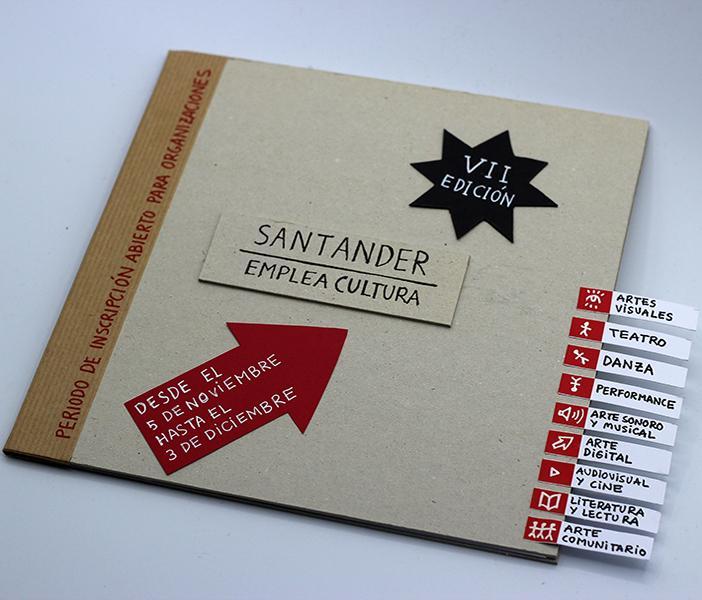 Imagen de portada de 7ª edición del programa Santander Emplea Cultura. Arte visual, vivo, comunitario y participativo. Mediación y gestión. Proyectos editoriales