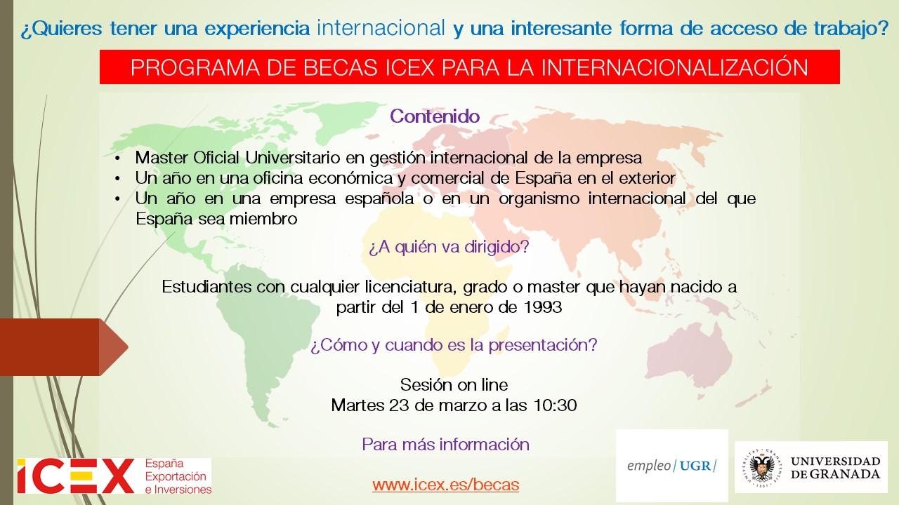 Imagen de portada de Sesión on-line. Becas de internacionalización ICEX