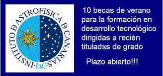 Becas de verano en el Instituto de Astrofísica de Canarias en Tenerife -  Plazo abierto!!!