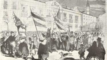 Manifestación contra las quintas en Zaragoza. El Museo Universal, 1869.